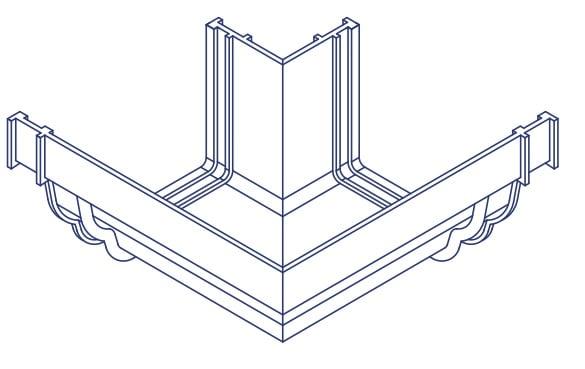 K2 Conservatory Roof Gutter 90 Deg External Bend C8040