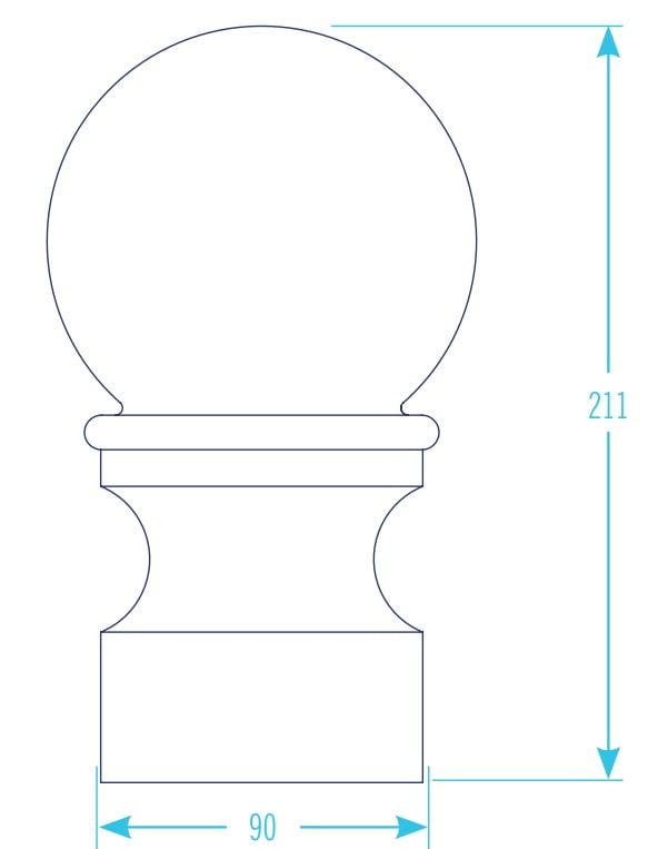 K2 Conservatory Aluminium Round Decorative Ball Finial